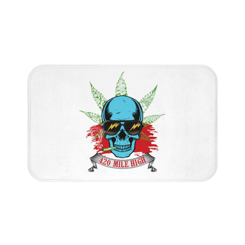 Smoking Weed White Bath Mats | 420 Mile High