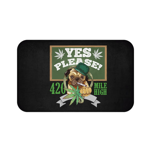 Yes Please Weed Black Bath Mats - 420 Mile High