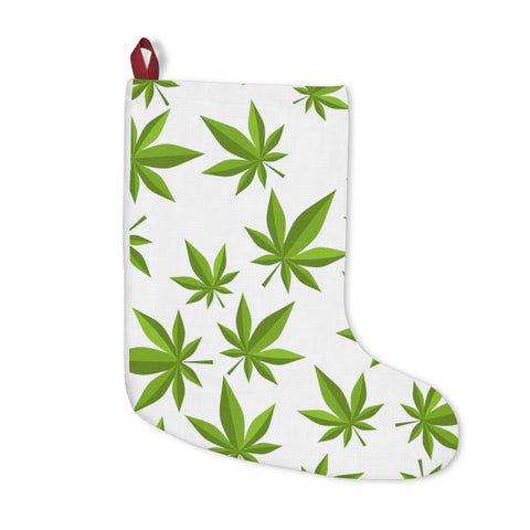 Weed White Christmas Stockings