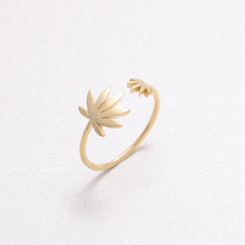 420 Weed Leaf Marijuana Open Adjustable Band Ring