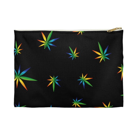 Multi-Color Weed Pattern Black Accessory Pouch - 420 Mile High