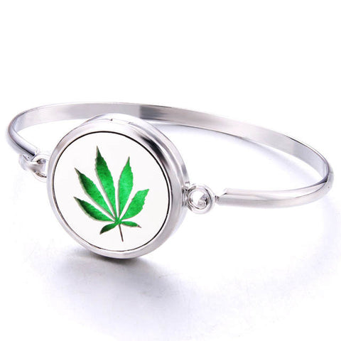 Hemp Leaf Essential Oil Aroma Diffuser Weed Locket Bracelet - 420 Mile High