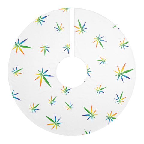 Multi-Color Weed Pattern Christmas Tree Skirt