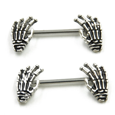 Skeleton Hands Nipple Barbell Nipple Rings 316L Surgical Steel