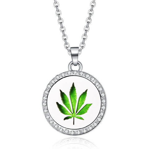 Hemp Leaf Essential Oil Aroma Diffuser Weed Pendant and Necklace - 420 Mile High