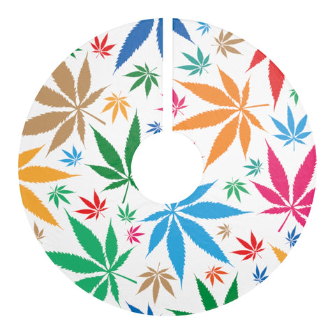 Multi-Color Weed Christmas Tree Skirt