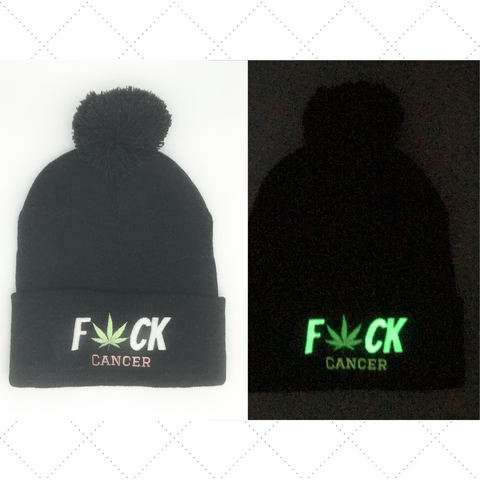 F*ck Cancer Pom Pom Beanie Hats Custom Thread Colors