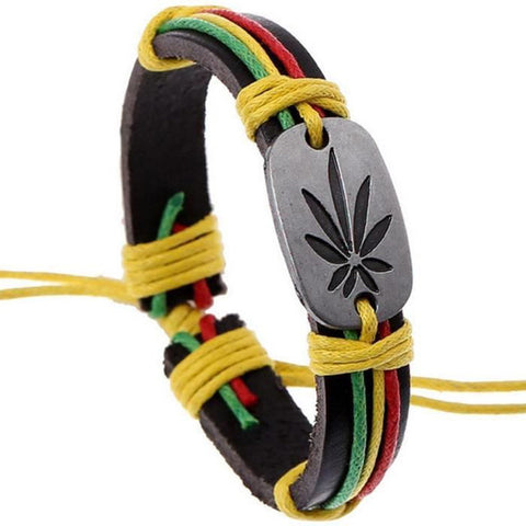 Rasta Weed Leaf Charm Jamaica Style Leather Bracelet - 420 Mile High
