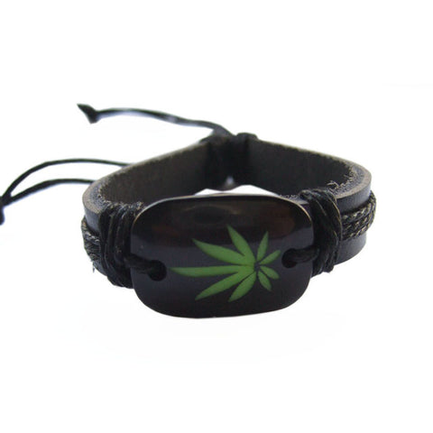 Weed Leaf Charm Black Hemp Rope and Leather Bracelet - 420 Mile High