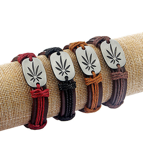 Weed Leaf Charm Leather Bracelet - 420 Mile High