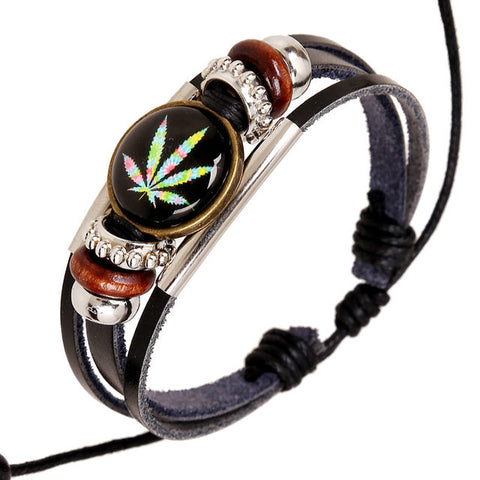 Weed Leaf Charm Leather Bracelet