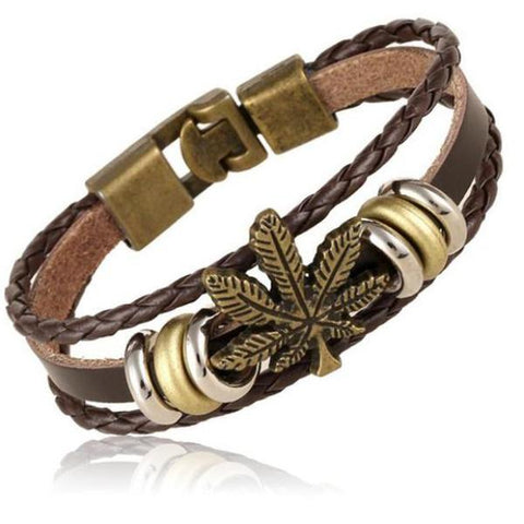 Weed Leaf Charm Beaded Leather Bracelet - 420 Mile High