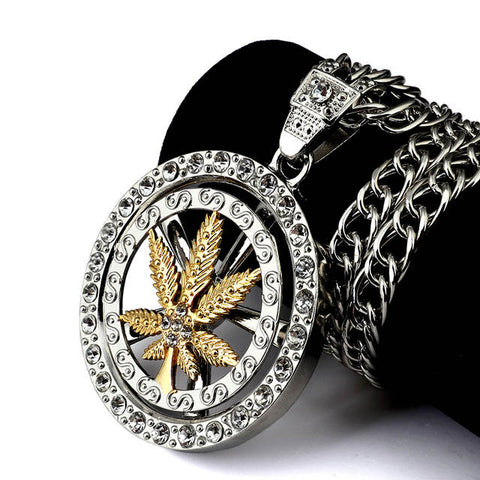 Hip Hop Street Wear Spinning Bling Marijuana Weed Leaf Pendant and Necklace