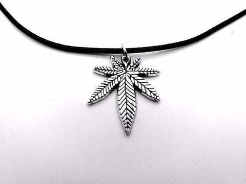 Weed Jewelry | Weed Leaf Charm Rope Necklace | 420 Mile High