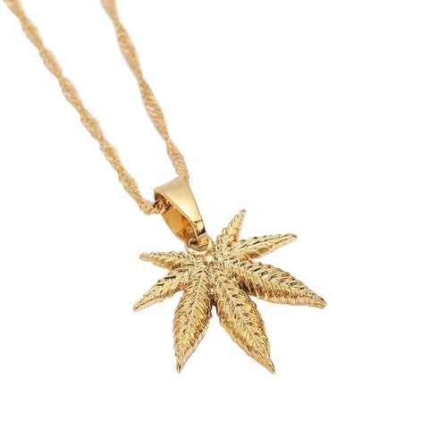24K Gold Plated Weed Leaf Pendant Necklace