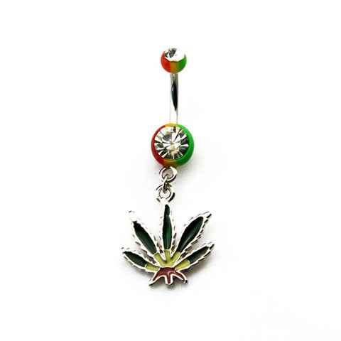 Rasta Pot Leaf Weed Dangling Navel Belly Button Ring Piercing 316L Surgical Grade Steel - 420 Mile High