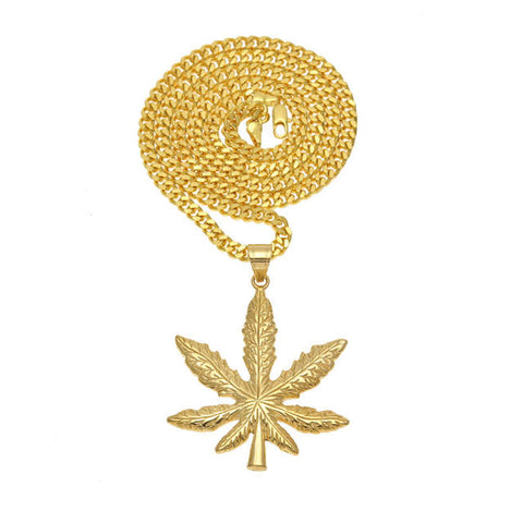 Marijuana Pot Leaf Pendant Gold Color Necklace