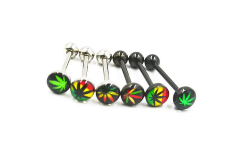 Weed Pot Leaf Tongue Barbell Ring 316L Surgical Grade Steel - 420 Mile High