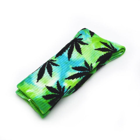 420 Stoner Hippie Tie Dye Marijuana Weed Crew Socks - 420 Mile High