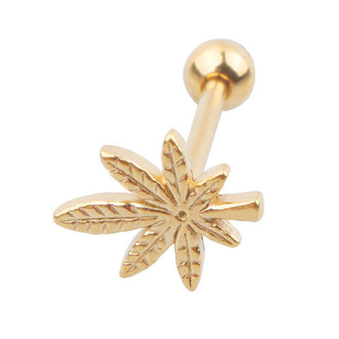 Weed Pot Leaf Tongue Barbell Piercing 316L Surgical Steel