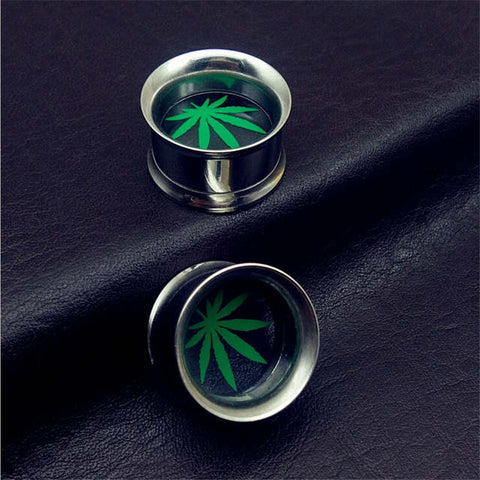 Weed Pot Leaf Stainless Steel Ear Gauge Plugs