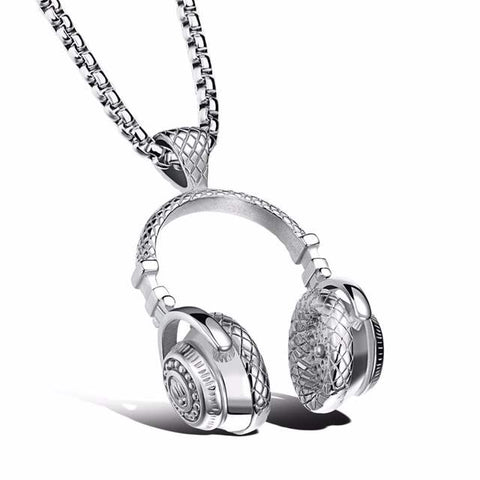 Silver Color Jewelry | Headphone Pendant Necklace | 420 Mile High