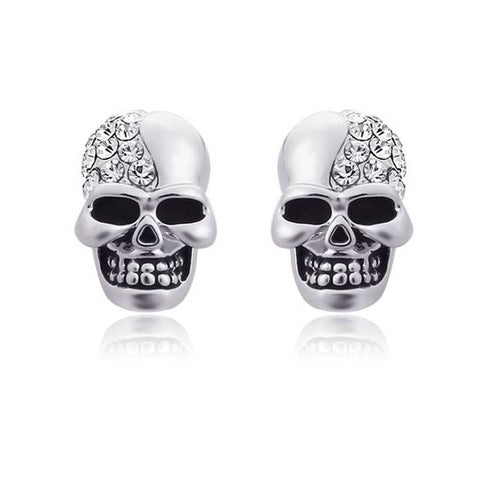 Punk Rock Rhinestone Skull Earrings