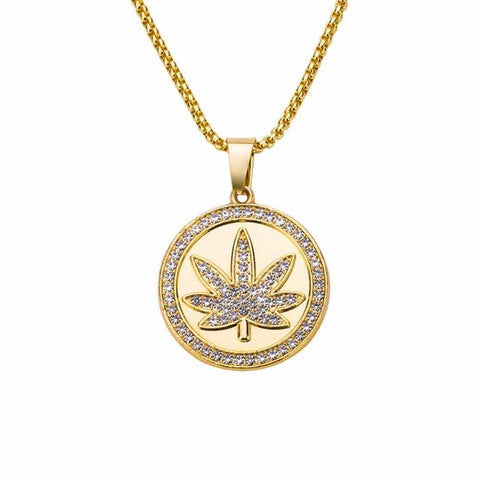 Hip Hop Bling CZ Stone Weed Leaf Round Pendant Necklace - 420 Mile High