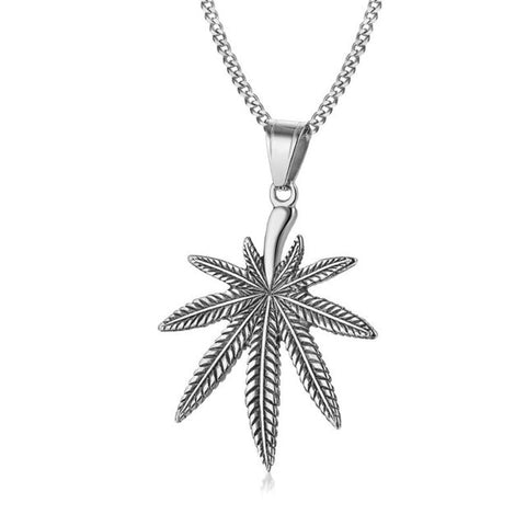 Vintage Hemp Leaf Pendant Necklace