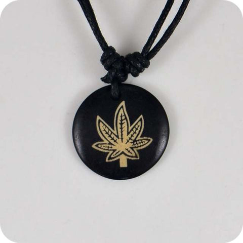 Weed Jewelry | Weed Leaf Carved Pendant Necklace | 420 Mile High