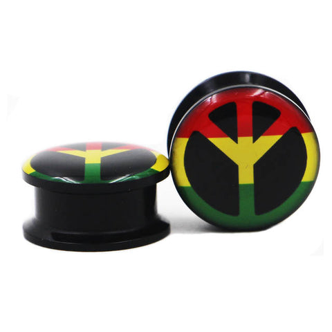 Rasta Peace Sign Gauges | 420 Mile High