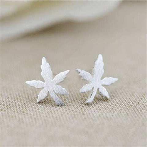 Marijuana Weed Leaf Sterling Silver Earrings