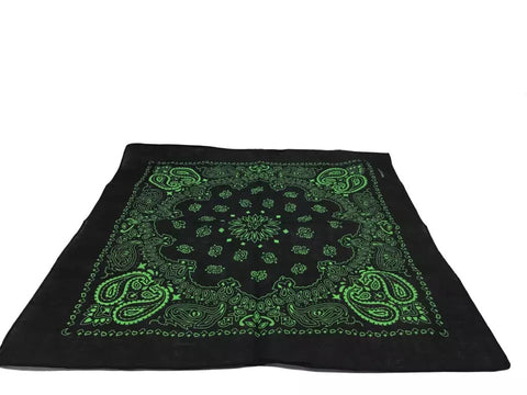 Green Paisley Print Bandana - 420 Mile High