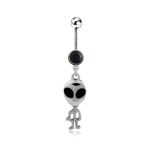 Alien Dangling Navel Belly Button Ring Piercing - 420 Mile High