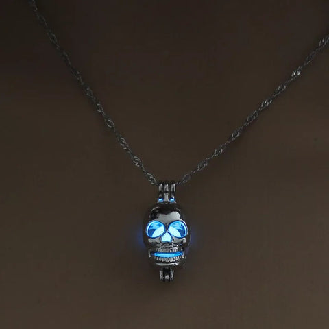 Night Glowing Skull Pendant Necklace - 420 Mile High
