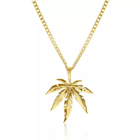 HiHip Hop Gold Plated Weed Leaf Pendant Necklace - 420 Mile High