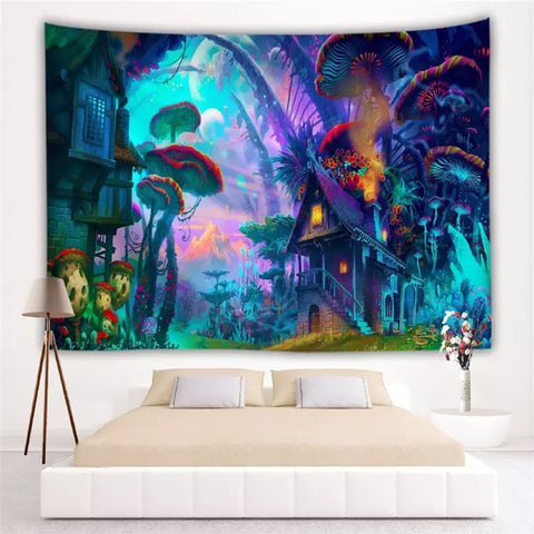 Trippy Mushroom Forest Tapestry Wall Hanging - 420 Mile High