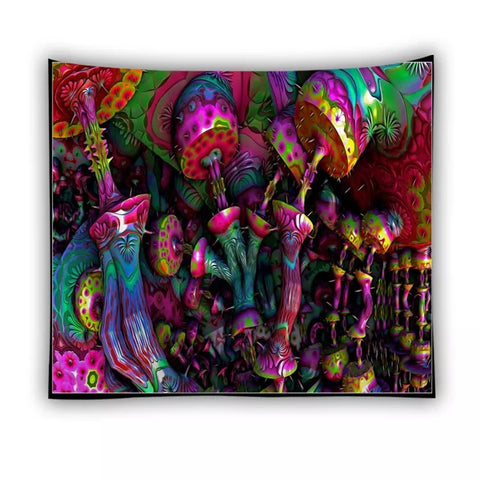 Psychedelic Mushroom Tapestry Wall Hanging - 420 Mile High