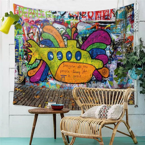 Punk Art Graffiti Submarine Tapestry Wall Hanging - 420 Mile High