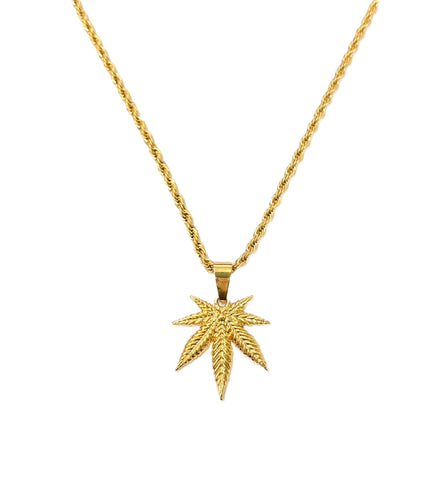 24K Gold Plated Weed Leaf Pendant Necklace | 420 Mile High