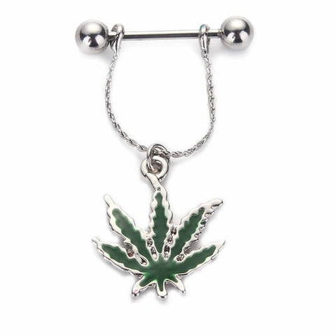 Weed Pot Leaf Nipple Barbell Nipple Dangling Rings 316L Surgical Steel