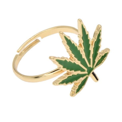 420 Green Hemp Weed Leaf Marijuana Open Adjustable Band Ring - 420 Mile High