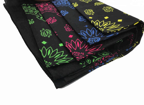 Green, Pink, Blue, Yellow Paisley Bandanas - 420 Mile High
