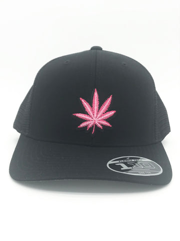 Pink Pot Leaf Flexfit Snapback Mesh Black Hat | 420 Mile High