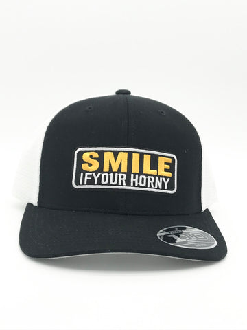 Smile If Your Horny Flexfit Snapback Mesh Hat Black/White Color | 420 Mile High