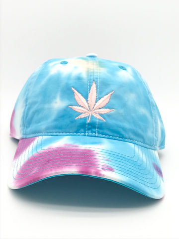 Glow-in-the-Dark Pot Leaf Tie Dyed Hat | 420 Mile High