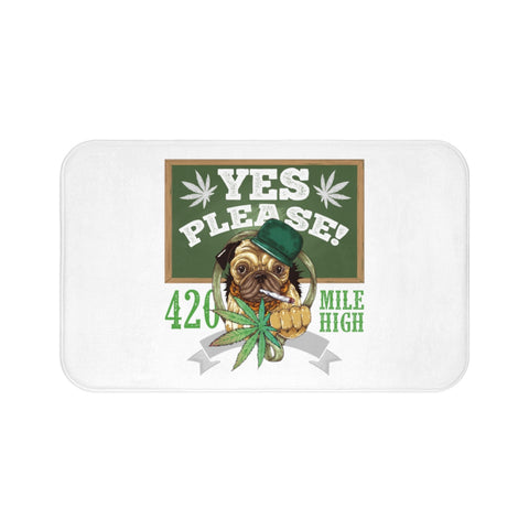 Yes Please Weed White Bath Mats - 420 Mile High