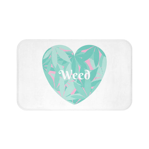 Love Weed White Bath Mats - 420 Mile High