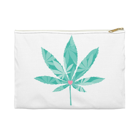 Heart Weed White Accessory Pouch - 420 Mile High