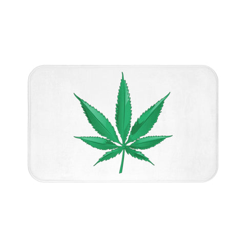Marijuana White Bath Mats - 420 Mile High